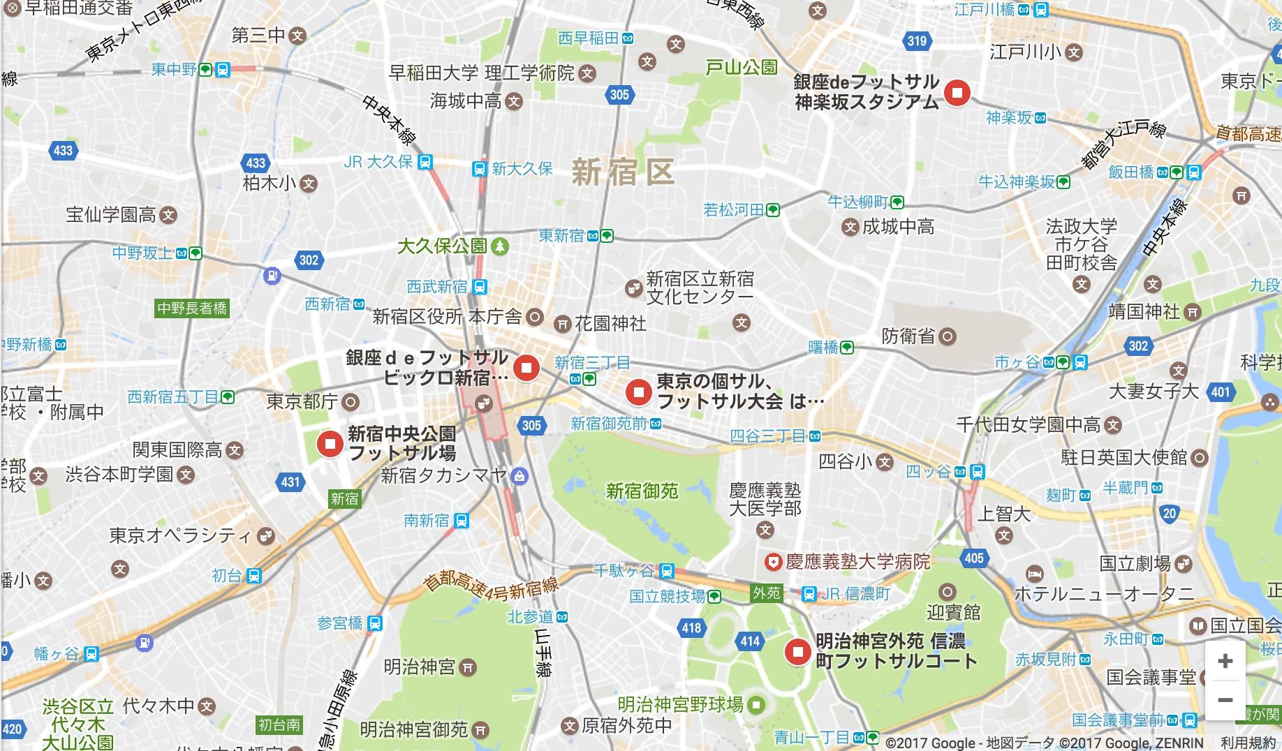 新宿のフットサル場のGoogleMap