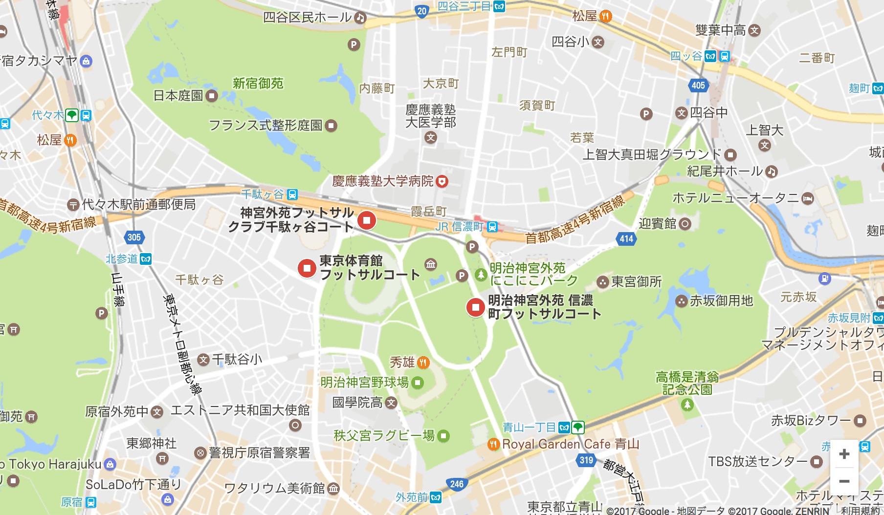 信濃町・千駄ヶ谷のフットサル場のGoogleMap